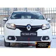 Зимняя заглушка решетки переднего бампера Renault Sandero 2014-2017 (II дорестайлинг)