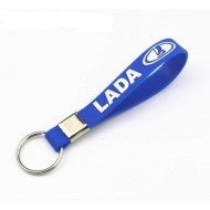 Силиконовый брелок с логотипом LADA. Синий.