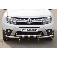 Защита переднего бампера двойная с зубьями Ø63/63 мм (НПС) на Renault DUSTER с 2012, Nissan Terrano