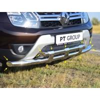 Защита переднего бампера двойная с пластинами Ø63/63 мм (НПС) на Renault DUSTER с 2012, Nissan Terra