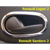 Накладки на внутренние ручки дверей (нерж) на Рено Логан 2, Рено Сандеро 2 (комплект 4 шт)