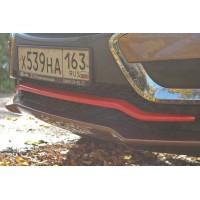 Накладка на передний бампер КРАСНЫЙ  Лада Иксрей | LADA XRAY (1 шт) c 2016 г.в.