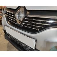 Накладки на решетку радиатора (хром) Рено Логан 2 Дорестайлинг (2014-2018) | Renault Logan 2