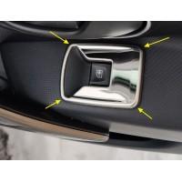 Накладки (хром) 4 шт. на блоки управления стеклами Рено Логан 2, Сандеро 2 | Renault Logan 2, Sander