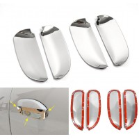 Чашки (хром) 4 шт. под внешние ручки дверей Рено Логан 2, Сандеро 2 | Renault Logan 2, Sandero 2