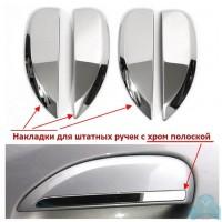 Накладки (хром) 4 шт. на внешние ручки дверей (с хром полоской) Рено Логан 2, Сандеро 2 | Renault Lo