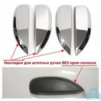 Накладки (хром) 4 шт. на внешние ручки дверей (без хром полоски) Рено Логан 2, Сандеро 2 | Renault L