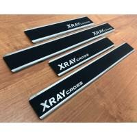 Накладки в проёмы (на пороги) дверей Карбон 4 шт. (НПС) LADA XRAY Cross c 2018