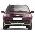 Защита переднего бампера двойная Ø63/51 мм (НПС) Chevrolet NIVA с 2009