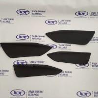 Вставки дверей (кожзам с двойной строчкой) Черная строчка - 4 шт. Лада Веста | Lada Vesta