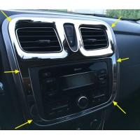 Накладка хром (1 шт.)  вокруг штатной магнитолы для Рено Логан 2, Сандеро 2 | Renault Logan II, Sandero 2