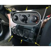 Накладка хром (1 шт.) на облицовку блока кондиционера для Рено Логан 2, Сандеро 2 | Renault Logan II, Sandero 2