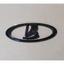 Эмблема решетки радиатора + для экрана двигателя (1.6)  Лада Гранта, Приора на скотче (Черный глянец)