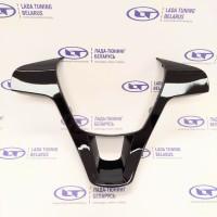 Вставка руля сплошная без кнопок - Черный глянец - для Лада Веста, Xray (все модели) | Lada Vesta, X