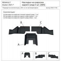 Накладки на ковролин заднего ряда (3 шт) (ABS) RENAULT Duster 2021-