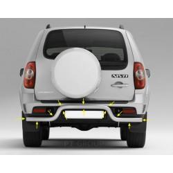 """Защита заднего бампера """"Волна"""" Ø63 мм (ППК - Серебристый) Chevrolet NIVA 2009 - 2020"""