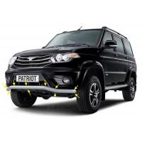 Защита переднего бампера Ø63мм «Волна» (ППК - Серебристый) УАЗ Патриот с 2014