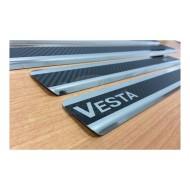 Накладки на пороги Лада Веста, Vesta SW Cross Карбон (4 шт.)